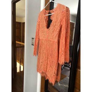 Luxxel Peach Lace Mini Dress